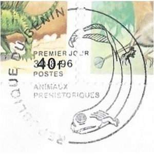 prehistoric animal on commemorative postmark of Benin 1996