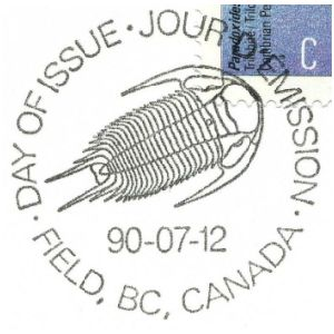 Trilobite on postmark of Canada 1990