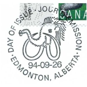 Mammoth on postmark of Canada 1994