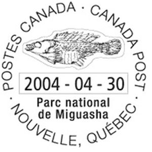 Fish fossil on postmark of Canada 2004