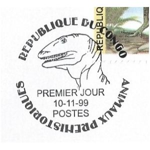 Dinosaur on postmark of FDC of Congo Brazzaville 1999
