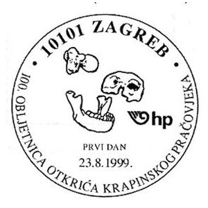 Fossils of Homo neanderthalensis krapinensis from krapina on postmark of Croatia 1999