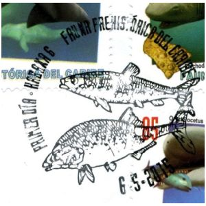 Prehistoric fishes on postmark of Cuba 2015