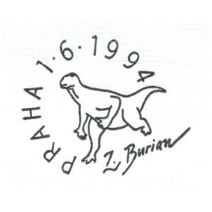 Dinosaur on postmark of Czech 1999
