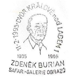 Zdenek Burian on postmark of Czech 1999