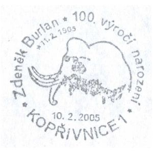 Mammoth on postmark of Czech 2005