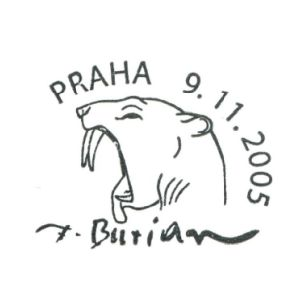 Saber-toothed cat on postmark of Czech 2005