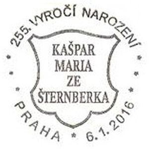 commemorative postmark of Czech paleontologist Kaspar Maria von Sternberg on postmark of Czech 2016