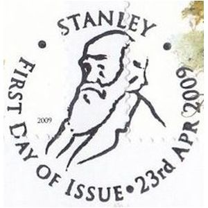 Charles Darwin on commemorative postmark of the Falkland islands 2009