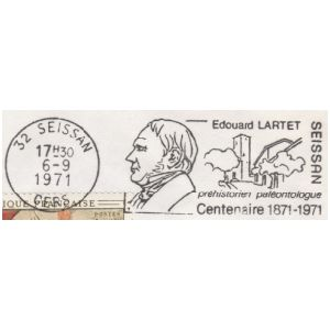 Famous French paleontologist Edouard LARTET SEISSAN on commemorative postmark of France 1971