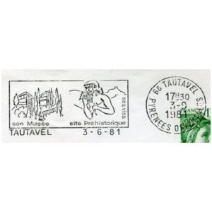 Tautavel man on commemorative postmark of France 1981-1991