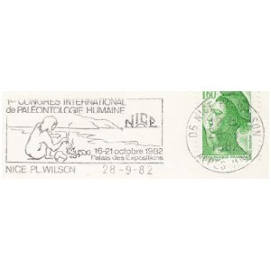 Prehistoric man on 1st international congress of human paleontology in Nice postmark of France 1982