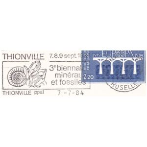Fossil on commemorative postmark of France 1983