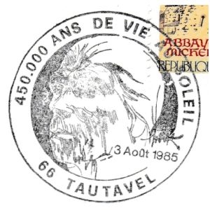 Tautavel man on commemorative postmark of France 1985