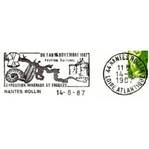 Ammonite and trilobite on commemorative postmark of France 1987