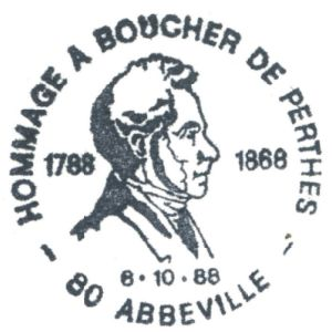 Boucher de Perthes on commemorative postmark of France 1988