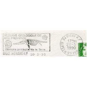 Fossil of Ammonite and Ichthyosaur on commemorative postmark of France 1990