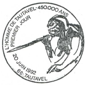 Fossil on commemorative postmark of Rance 1964