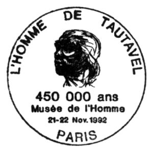 Prehistoric man of Tautavel on commemorative postmark of rance 1992