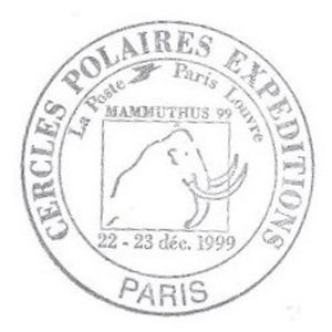 Mammoth on commemorative postmark of France 1999