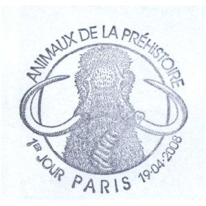 Mammoth on commemorative postmark of France 2008