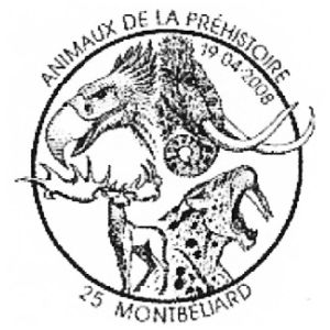 Ice age animals on commemorative postmark of France 2008