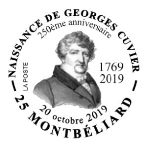 Famous French paleontologist Georges Cuvier  on commemorative postmark of France 2019