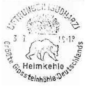 Cave Bear on postmark of East Germany 1971