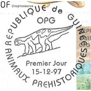 Dinosaur on postmark of Guinea 1997