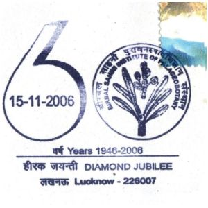 Fossil of prehistoric plant on commemorative postmark of India 2006