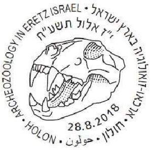 Fossil of cave lion on postmark of Israel 2018