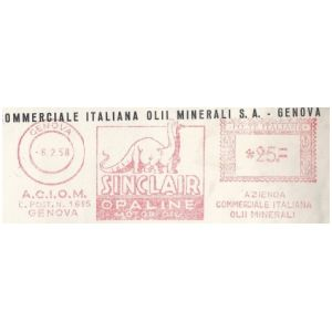 Dinosaur on meter franking of Italy 1950th