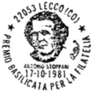 Antonio Stoppani on commemorative postmark of Italy 1981