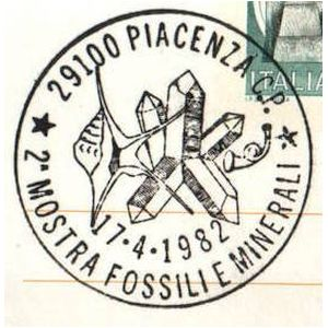 Fossils and minerals on postmark of Italy 1982