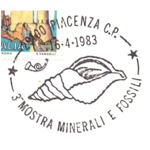 Shell fossil on postmark of Italy 1983