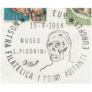 Skull of prehistoric human on postmark of Italy 1984