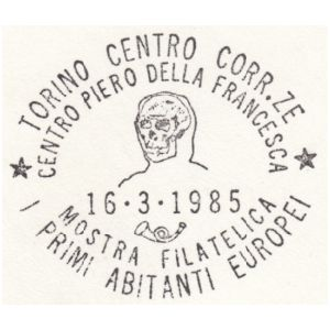 Skull of prehistoric human on postmark of Italy 1985
