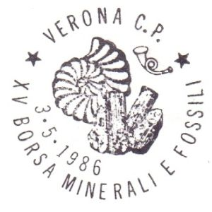 Ammonite on postmark of Italy 1986