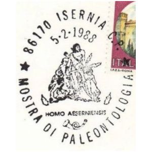 Homo erectus on commemorative postmark of Italy 1988