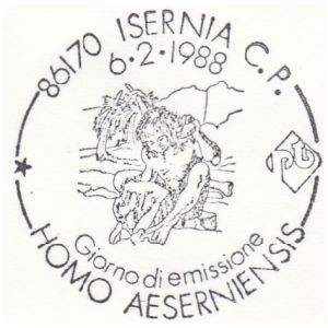 Homo aeserniensis on postmark of Italy 1988