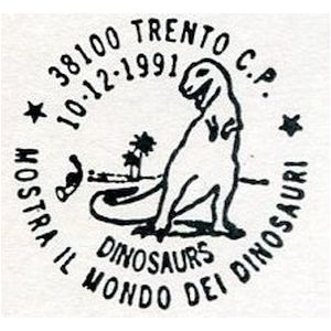 Dinosaur on postmark of Italy1991