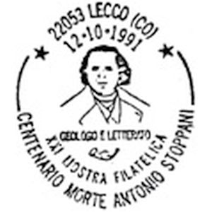 Antonio Stoppani on postmark of Italy 1991
