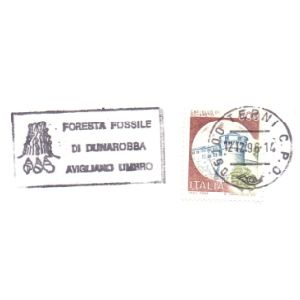 petrified tree on postmark of Italy 1996