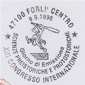 Prehistoric man on postmark of Italy 1996