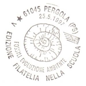 Ammonite on postmark of Italy 1997