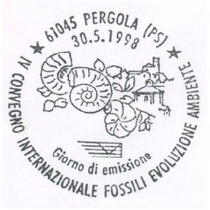 Ammonites on postmark of Italy 1998