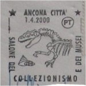 Dinosaur skeleton on postmark of Italy 2000