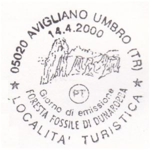 petrified forest of Dunarobba on postmark of Italy 1998