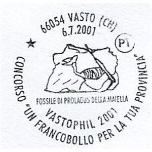 Dinosaur skeleton on postmark of Italy 2001