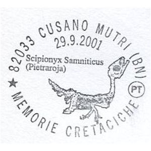 Scipionyx Samniticus on postmark of Italy 2001